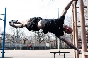 Human Flag on Parallel Bars