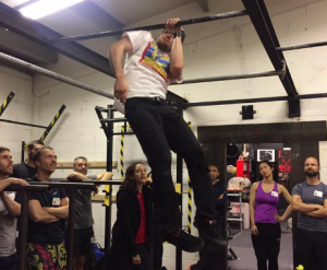 Fitsz demonstrates a one arm pull-up at PCC